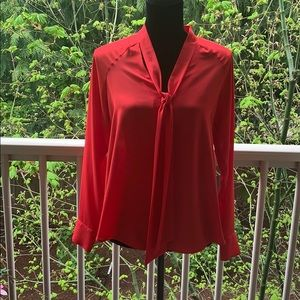 Zara red blouse with tie scarf neck M